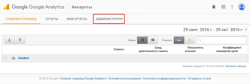 Google Analytics - Аккаунты