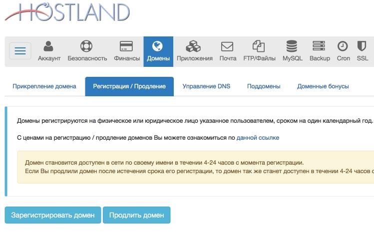 Hostland.ru - регистрация домена