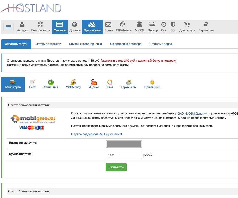 Hostland - меню оплаты