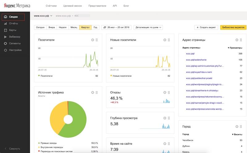 Yandex Метрика - просмотр данных